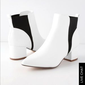 Lulus White and Black Booties